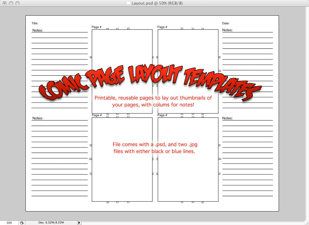 Comic Layout Page - Template by caleighblankenship