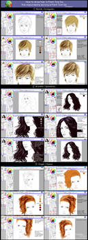 How to draw hair in Paint Tool Sai  (Tutorial) by Kajenna