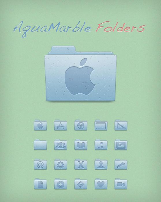 AquaMarble Folders by Lukeedee