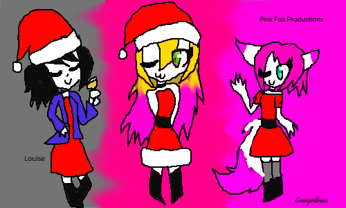 Christmas with Comic, Louise and Pink Fox by Comicgirldrawz