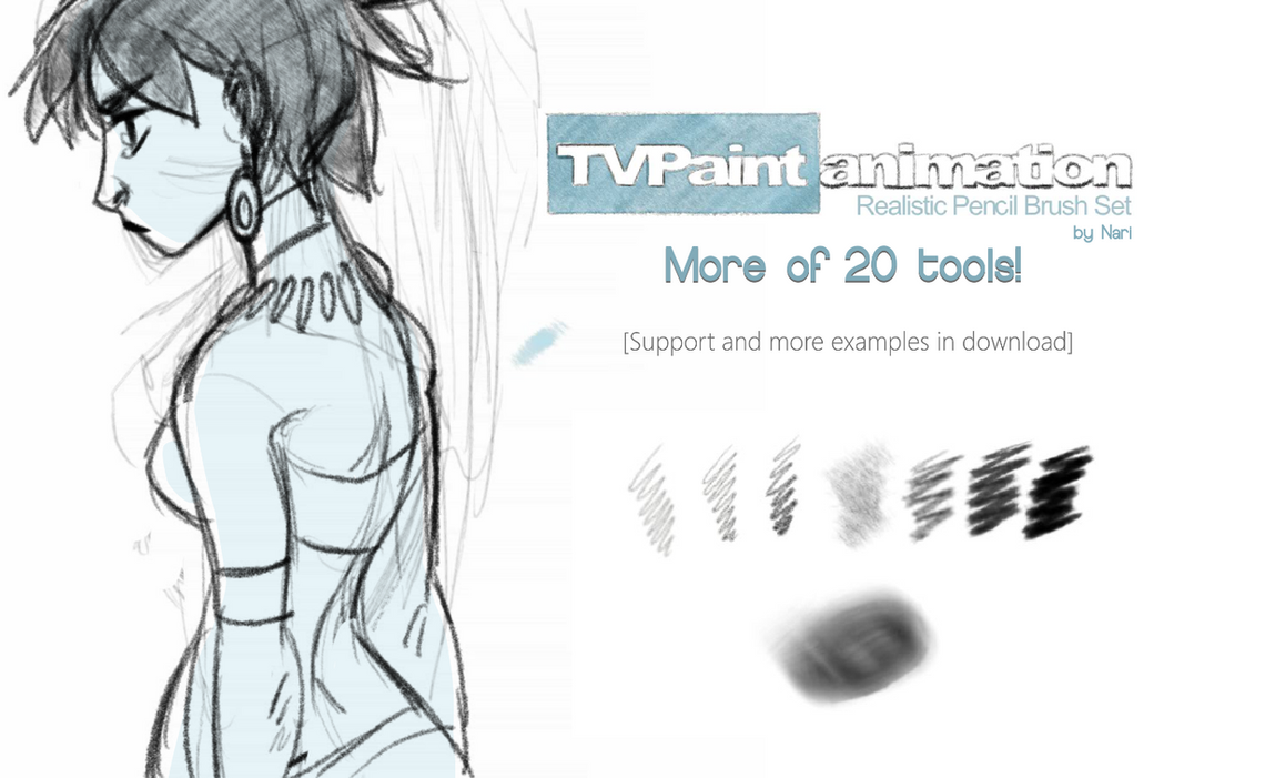 TVPaint Animation Realistic Pencil Set by N-A-R-I