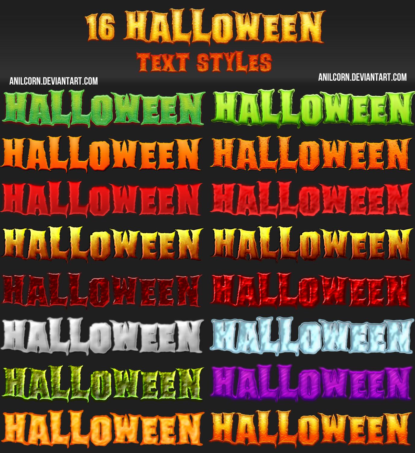 16 Halloween Text Styles by AnilCorn