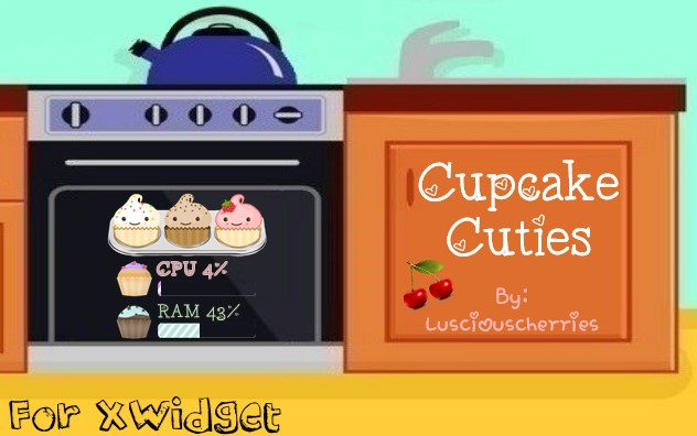 Cupcake Cuties CPU + RAM for XWidget by Lusciouscherries