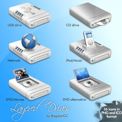 Layered Drives Icon Set