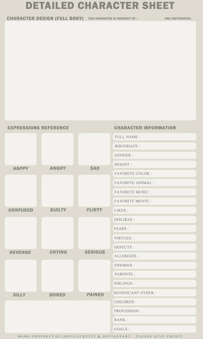 Detailed Character Sheet by DevilsCrypt