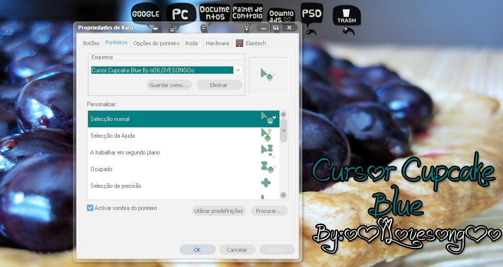 Cursor Cupcake Blue by oOILOVESONGOo