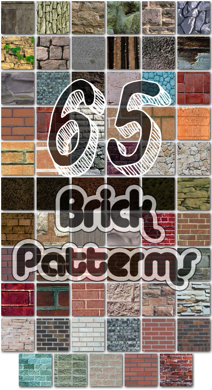 65 Seamless Brick Patterns for Photoshop by xDustyx