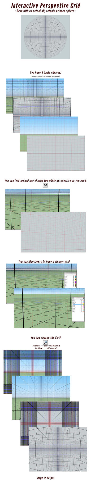 This is a 3D interactive perspective grid, done in Sketchup