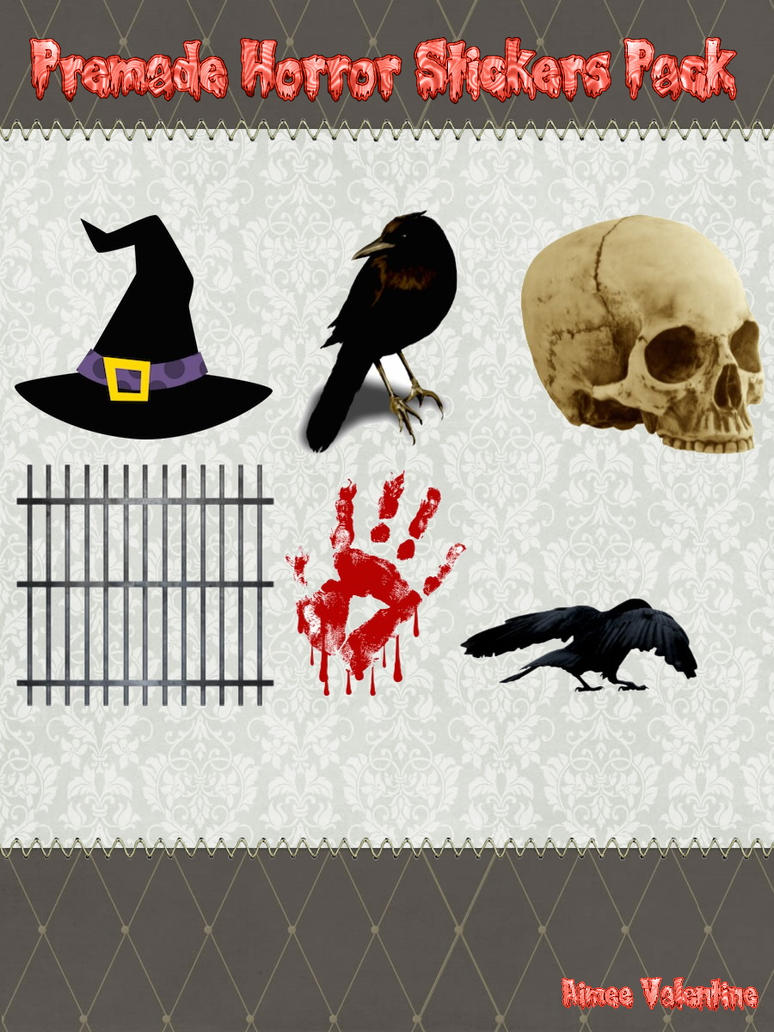Premade Horror Stickers Pack by Lady-Valentine-Art83 on