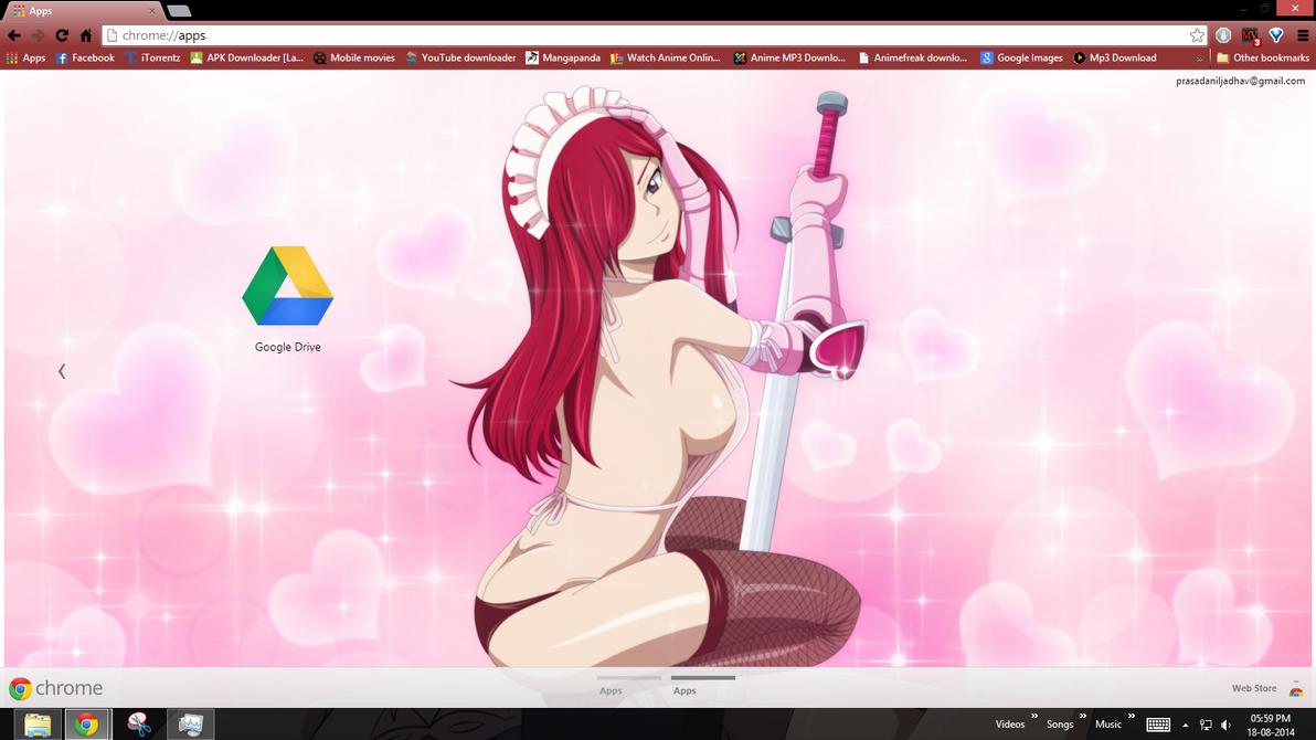 Google themes fairy tail - Erza Seduction Armour Chrome Theme By Prasad9323 By Prasad9323