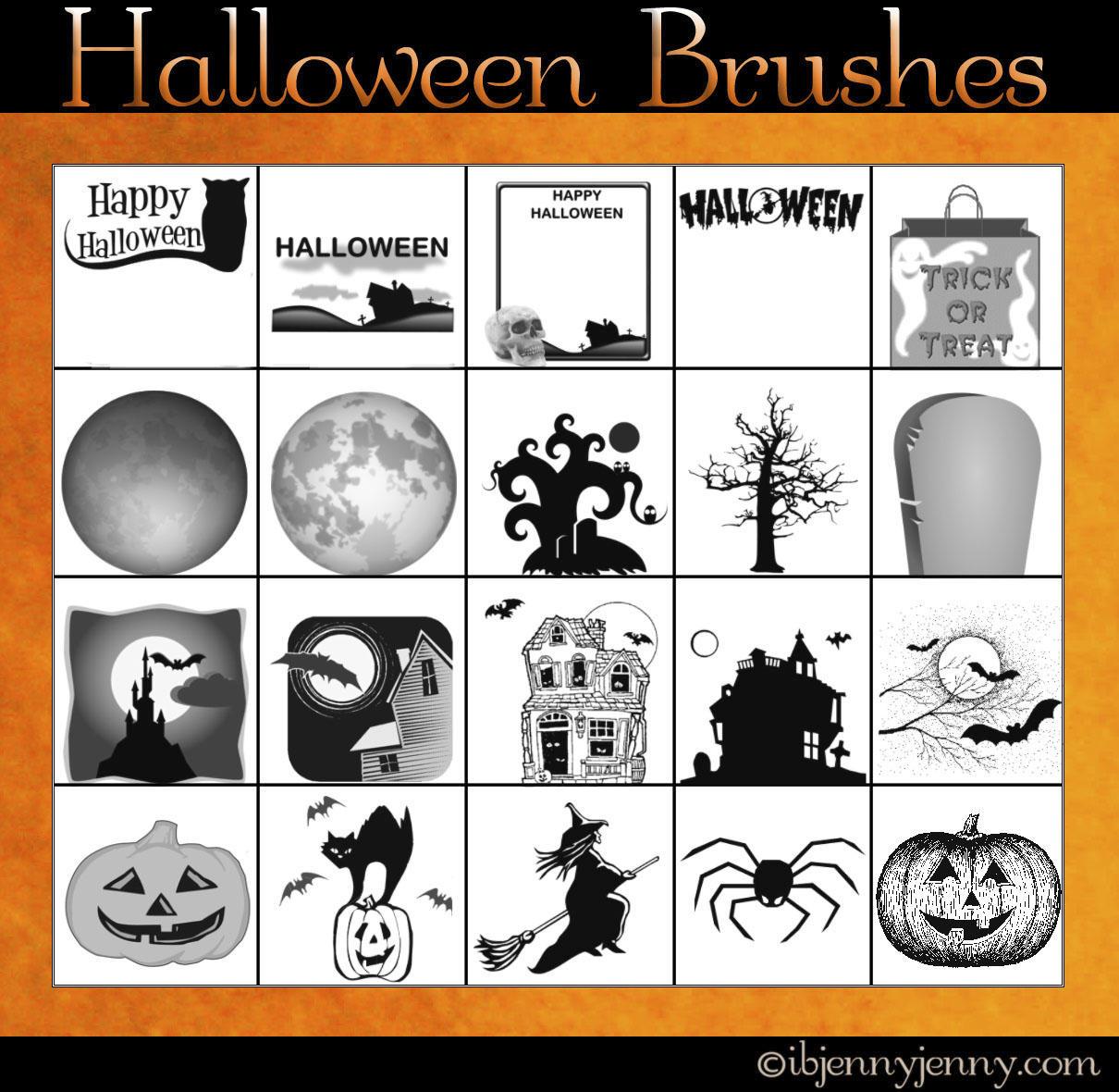 Free Halloween Photoshop Brushes by ibjennyjenny