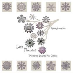 Lace Flower Photoshop Brushes Plus Cutouts