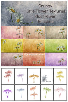 Grungy Little Flower Textures Plus Brushes