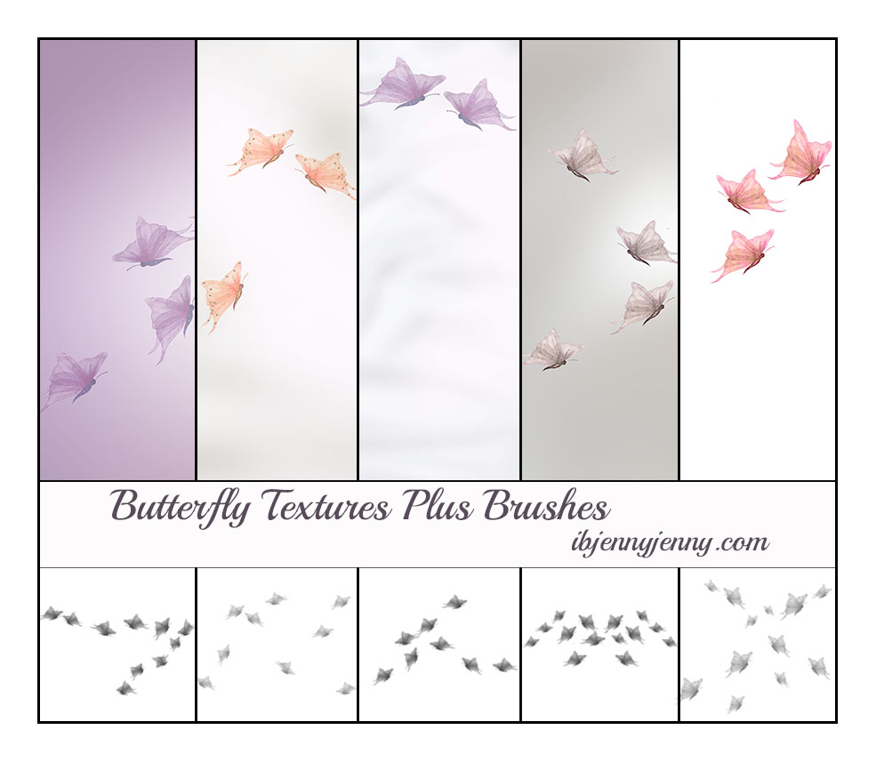 5 free butterfly textures plus photoshop brushes by