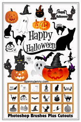 19 Free Halloween Photoshop Brushes Plus Cutouts by ibjennyjenny