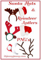 Santa Hats and Reindeer Antlers PNG's