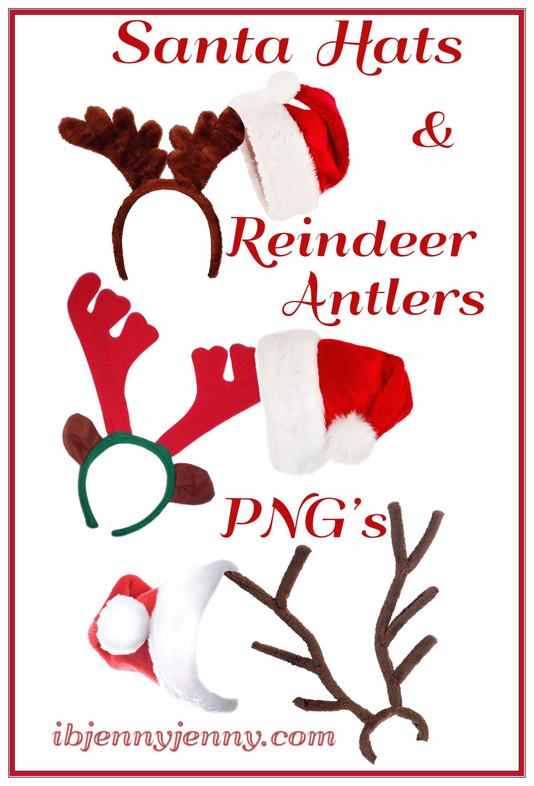 Santa Hats and Reindeer Antlers PNG's by ibjennyjenny on DeviantArt