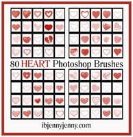 80 Free High Quality HEART Photoshop Brushes by ibjennyjenny
