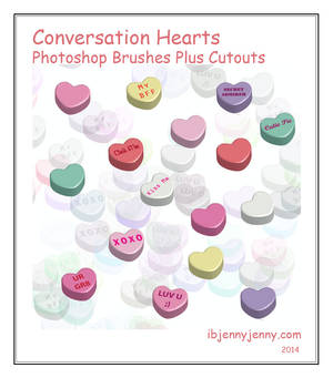 Conversation Hearts Photoshop Brushes plus Cutouts