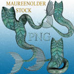 STOCK PNG green mer-tails