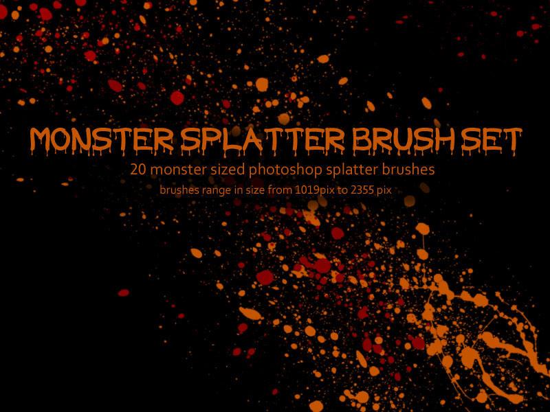 Monster Splatter Brush Set by miskis