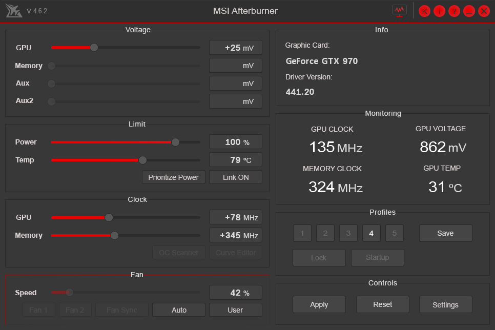 MSI Afterburner Dark Theme Red Skin