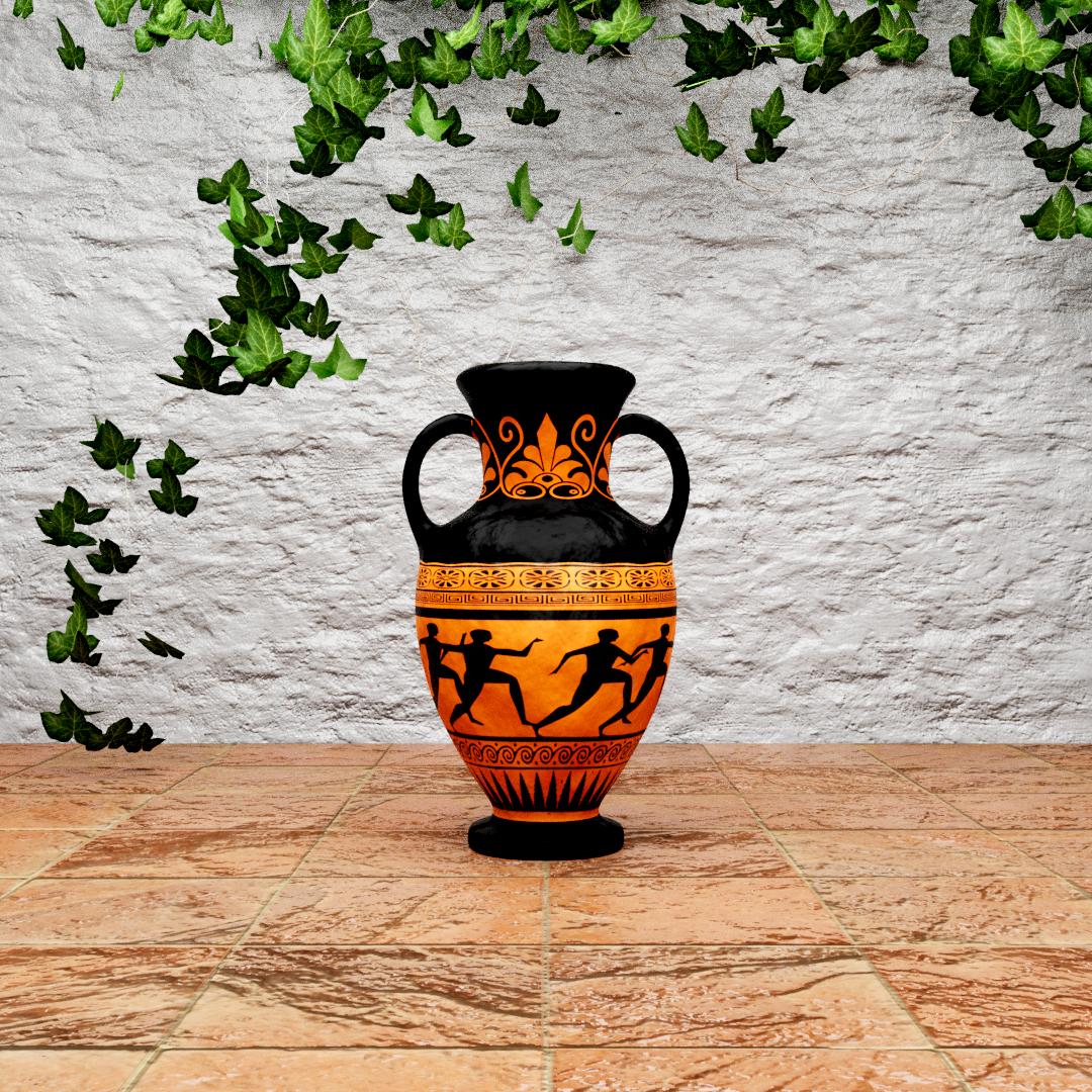 Greek Vase on Patio (Made with Blender)