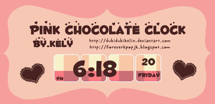 Pink Chocolate Clock (Skin XWidget) by DubiDubiKelin