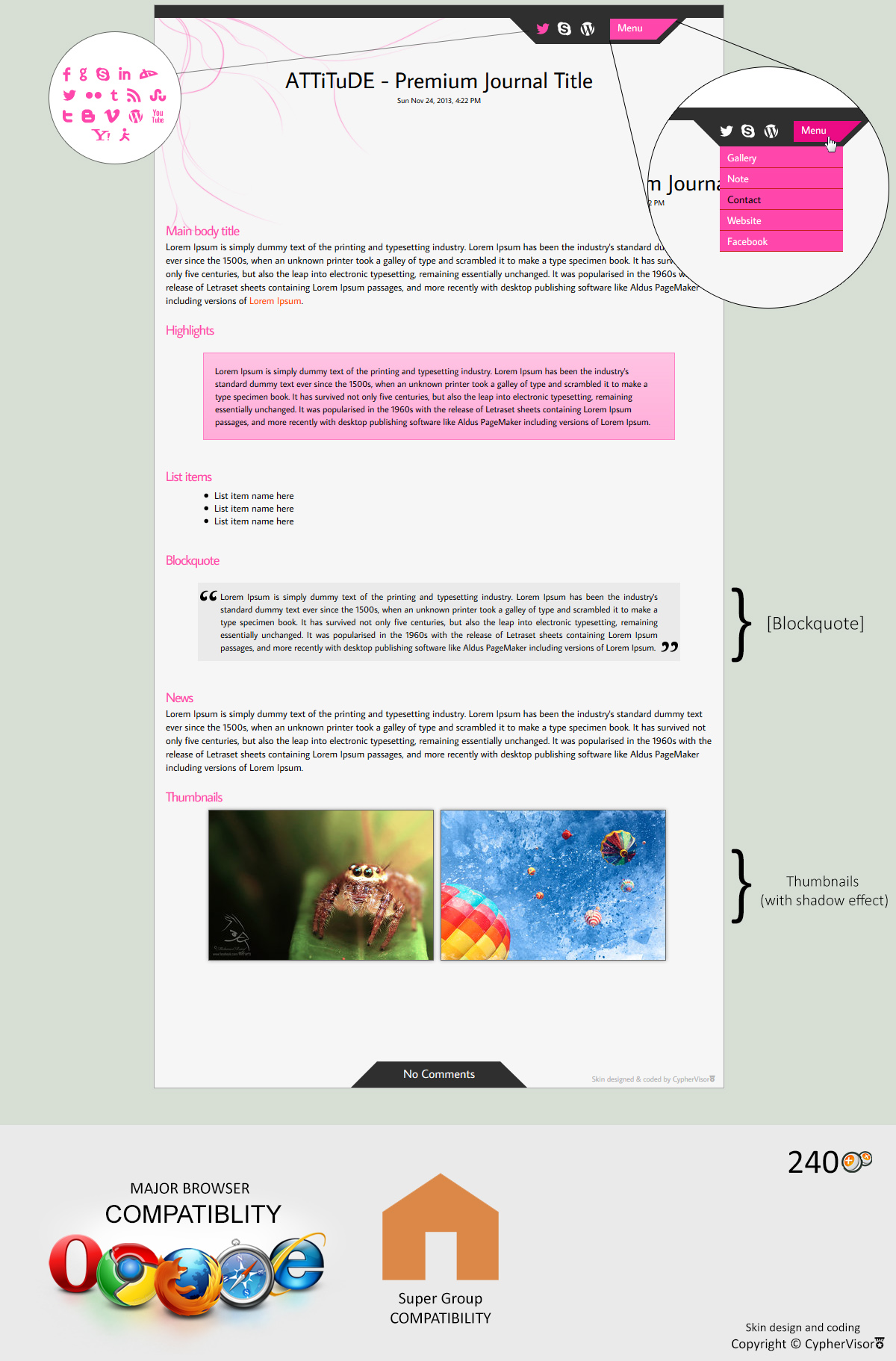 ATTiTude (Pink + Black) Premium skin by CypherVisor