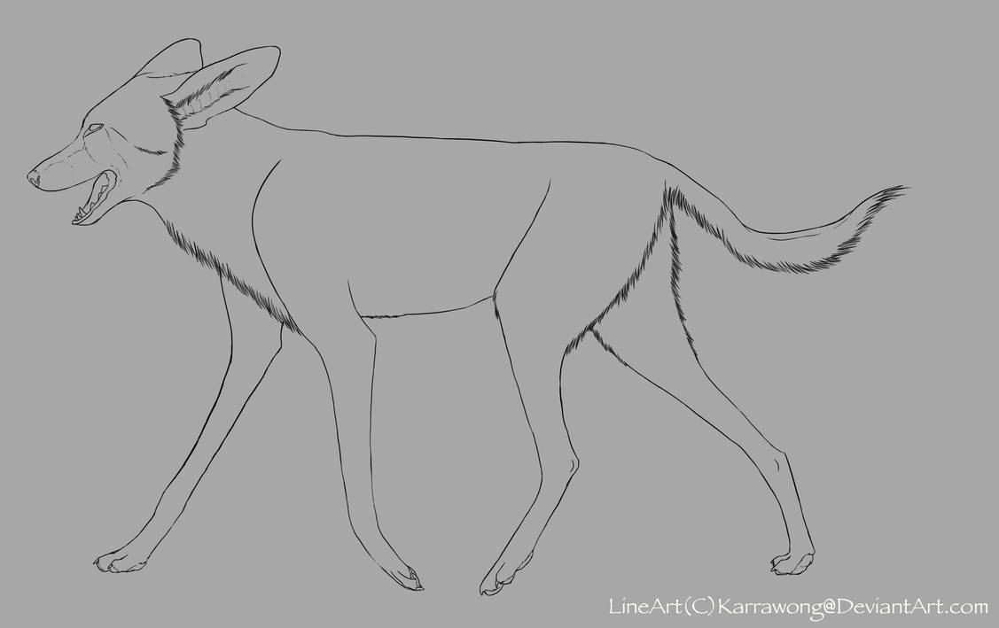 Free african wild dog line art by karrawong