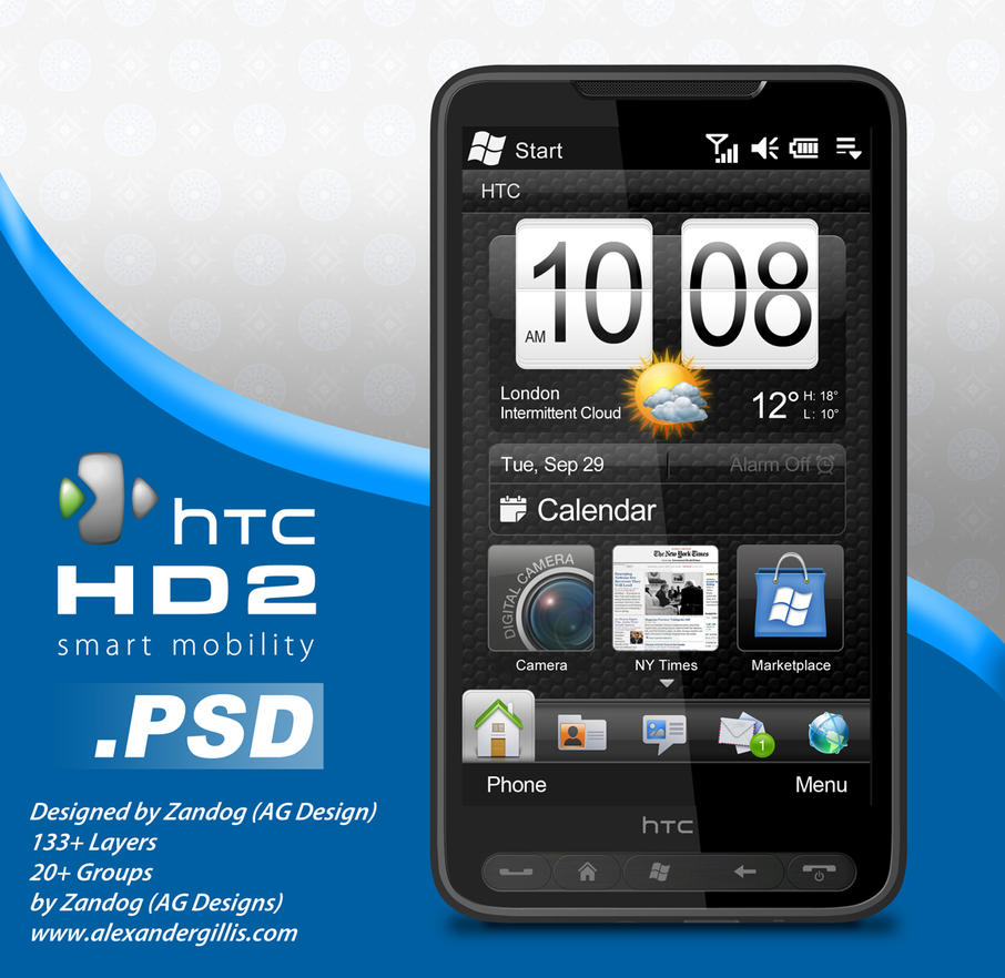 HTC HD2 Smartphone .PSD by zandog