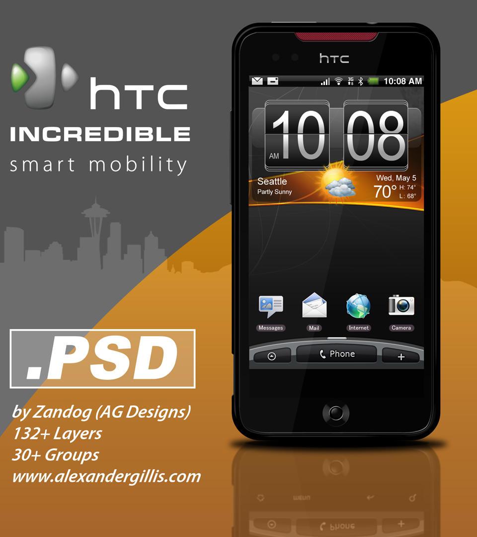 HTC Incredible Smartphone .PSD by zandog