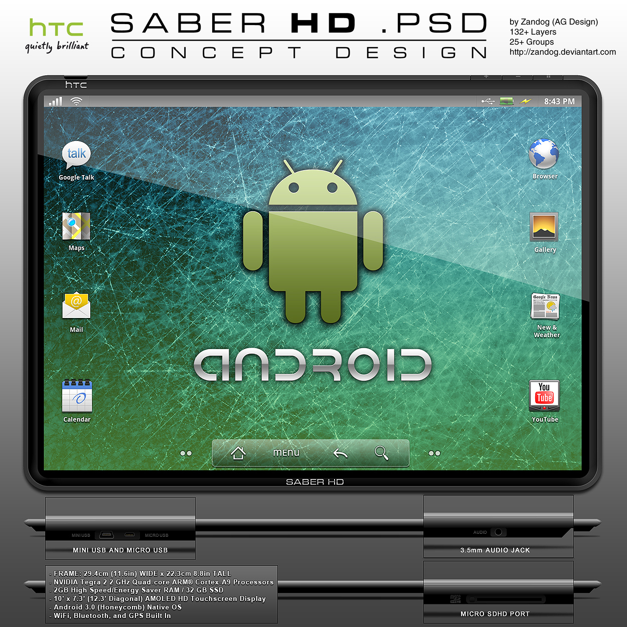 HTC SABER HD Tablet .PSD