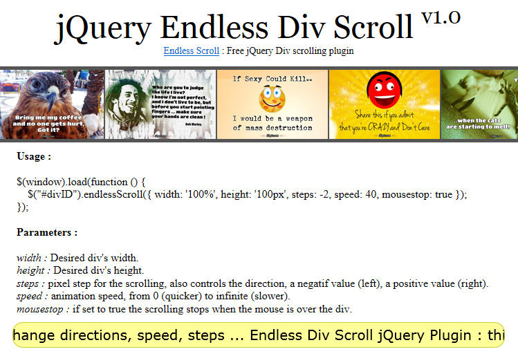Endless div scroll jquery plugin by codicode on deviantart - Jquery div scroll ...