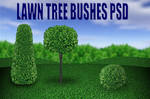 Lawn Tree and Bushes PSD