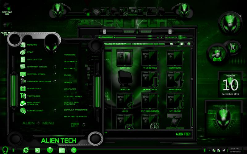 Windos 7 Theme Alien Tech (GREEN) by ToxicoSM on DeviantArt