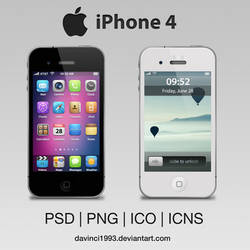 Apple iPhone 4: PSD | PNG | ICO | ICNS by davinci1993