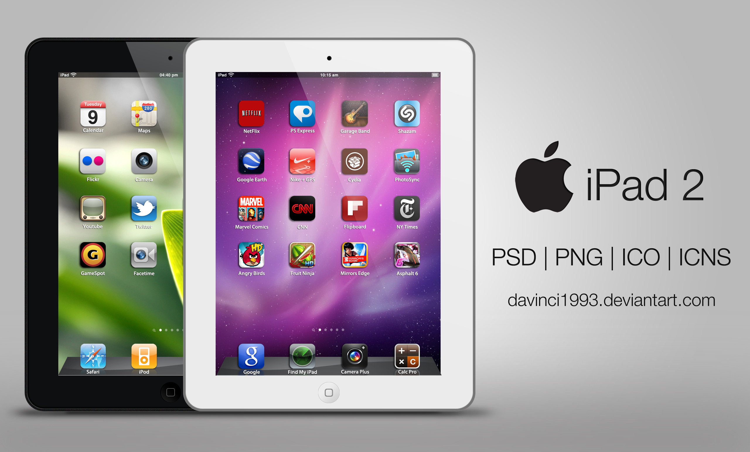 Apple iPad 2: PSD | PNG | ICO | ICNS by davinci1993