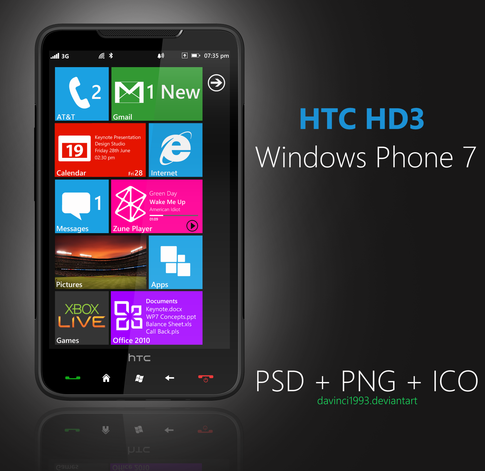 HTC HD3: PSD + PNG + ICO by davinci1993