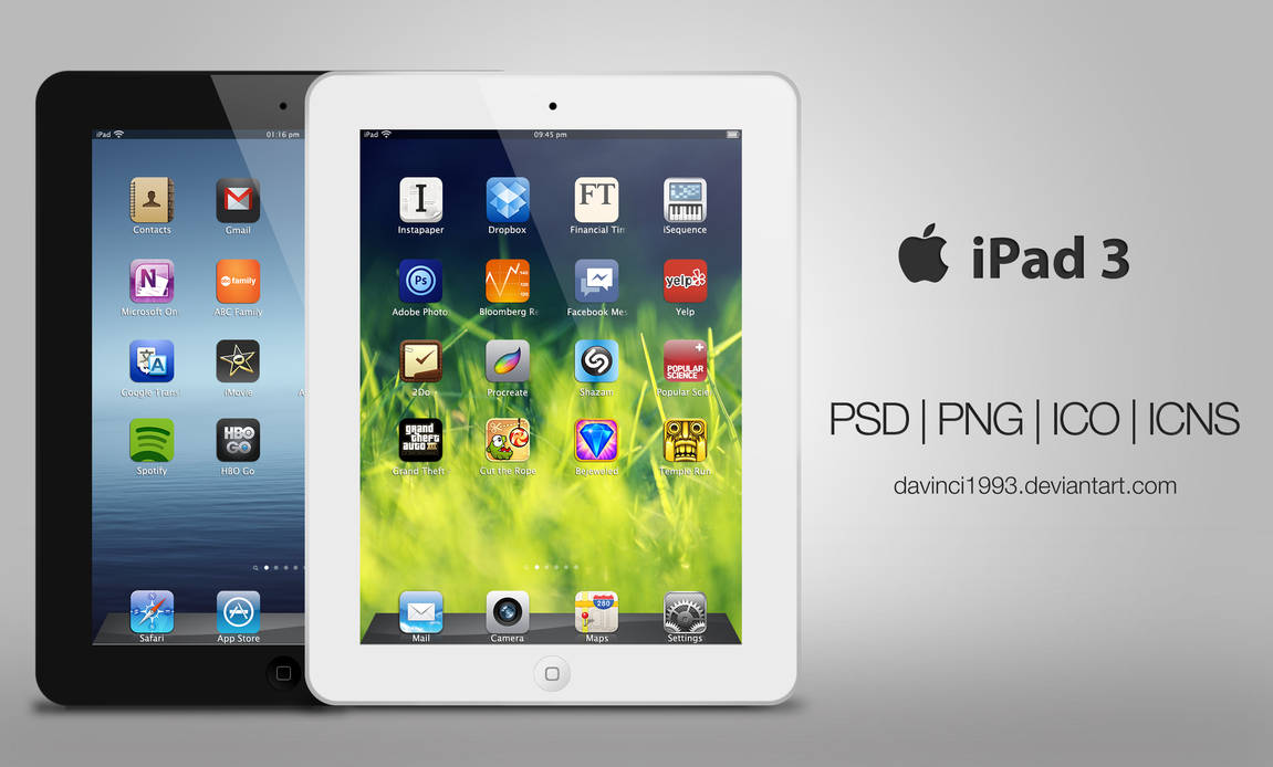 Apple iPad 3: PSD | PNG | ICO | ICNS by davinci1993