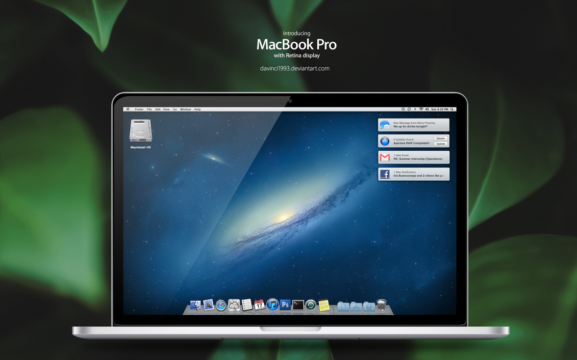 Apple MacBook Pro Retina: PSD   PNG   ICO   ICNS by davinci1993