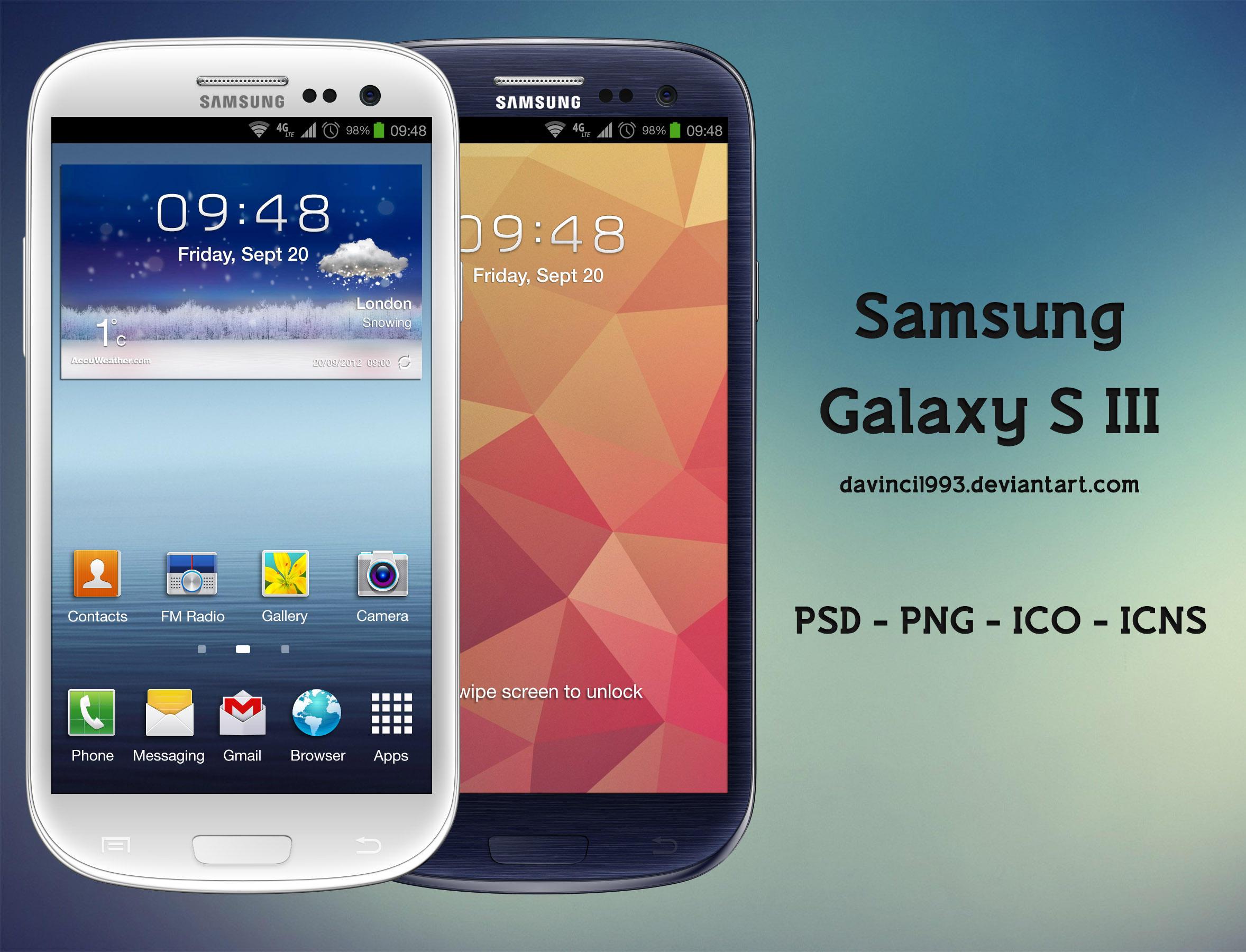 Samsung Galaxy S III: PSD | PNG | ICO | ICNS by davinci1993