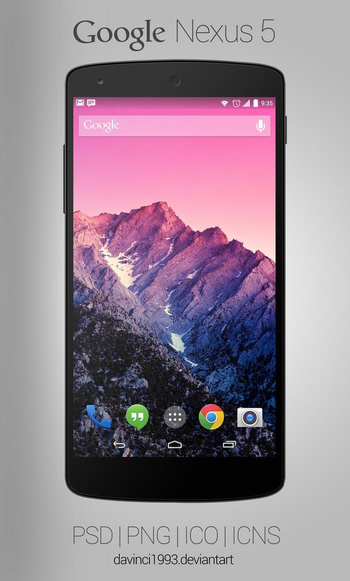 Google Nexus 5: PSD | PNG | ICO | ICNS by davinci1993