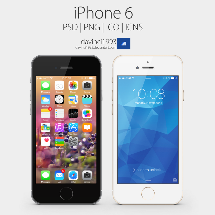 Apple iPhone 6: PSD | PNG | ICO | ICNS by davinci1993