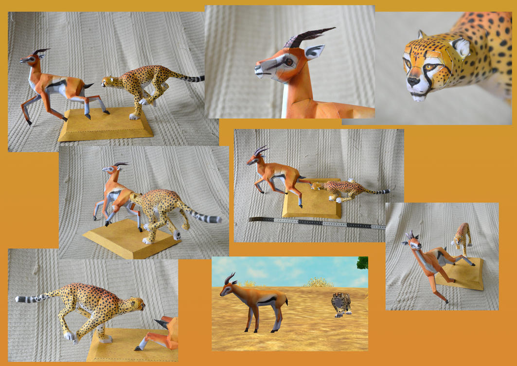 Zoo Tycoon Paper Collection - Cheetah and Gazelle by DrWheelieMobile
