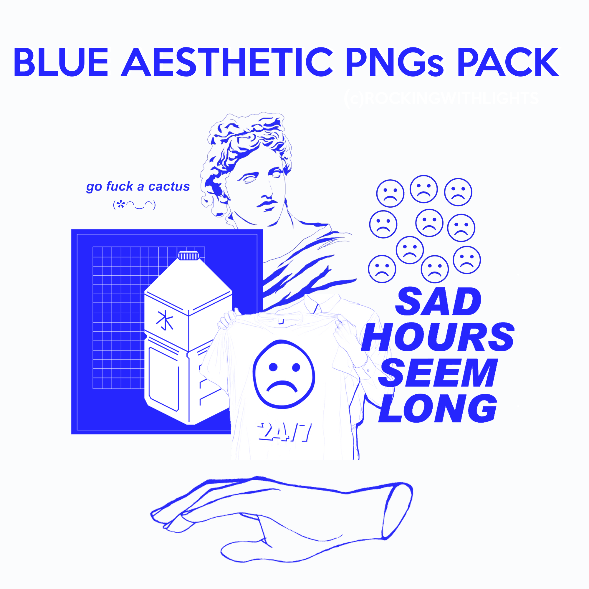 Blue Aesthetic Pngs Pack By Rockingwithlights On