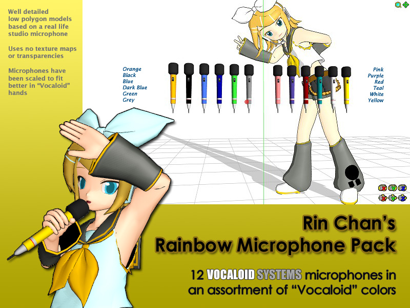 MMD Accessory - Rainbow Microphone Pack by Trackdancer on