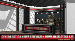 MMD GAN TV News Desk Stage Set