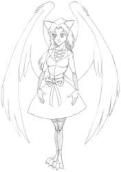 Catgirl Angel by wydelode