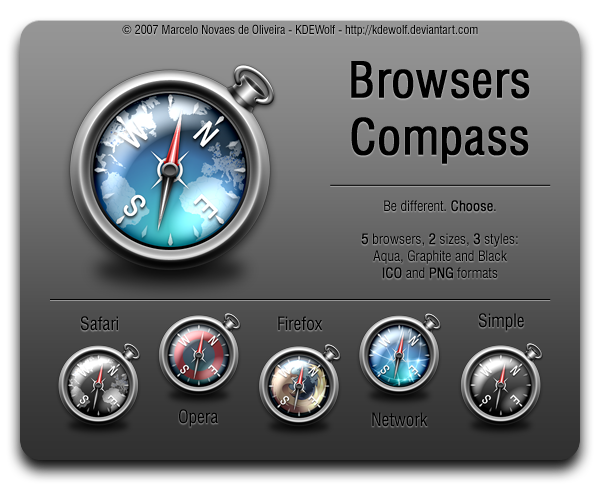 Browsers Compass Icon Pack UD by KDEWolf